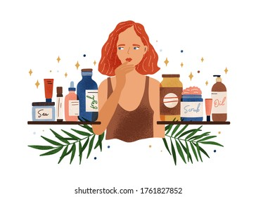 Pensive woman choosing organic cosmetics vector flat illustration. Thoughtful female choose natural beauty care product on shelves isolated. Buyer at shop with skincare products assortment
