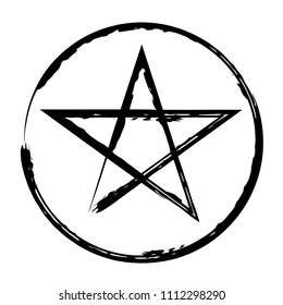 Pentacle brush symbol. Pentacle grunge style. Pentacle ink icon. Religious sign. Wicca and Neopaganism.