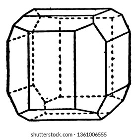 The pentagon dodecahedron shows a mixture and the hub, and is normal pyrite, vintage line drawing or engraving illustration.