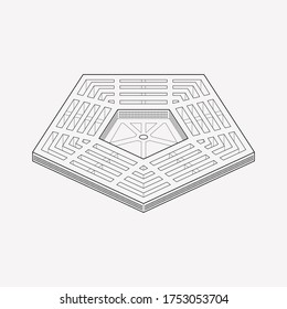 Pentagon icon line element. Vector illustration of pentagon icon line isolated on clean background for your web mobile app logo design.