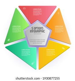 Pentagon infographic. The triangle diagram is divided into 5 parts. Business strategy, project development schedule, or training stages. Flat design.