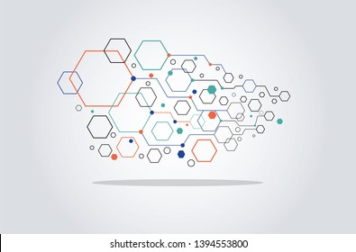 Pentagon Shape Connection background Vector, Abstract Pattern.