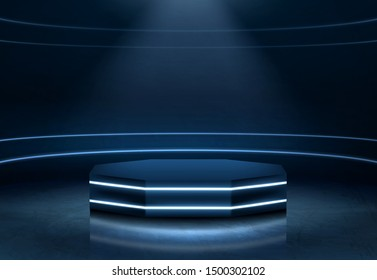 Pentagon shape, empty stage for product presentation, fashion show podium, pedestal in nightclub dance floor illuminated with light beam and neon illumination lines 3d realistic vector illustration