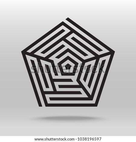 Pentagonal Maze Puzzle Icon Vector Background Stock Vector Royalty