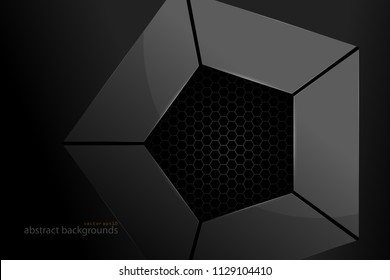 Pentagonal meta shape scene vector abstract wallpaper on a black backgrounds
