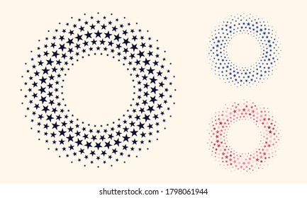 Pentagonal star in the shape of a circle in halftone design.