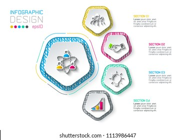 Pentagons label infographic with 5 steps.