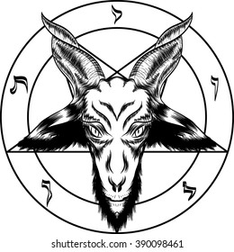 Pentagram with Baphomet. Binary satanic symbol. For tattoos, biker black metal themes. Black and white. You can turn off the pentagram. Handmade illustration. Vector.