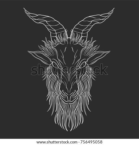Pentagram Demon Baphomet Satanic Goat Head Stock Vector Royalty