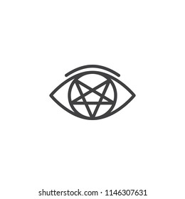Pentagram eye outline icon. linear style sign for mobile concept and web design. Eye Of evil simple line vector icon. Symbol, logo illustration. Pixel perfect vector graphics