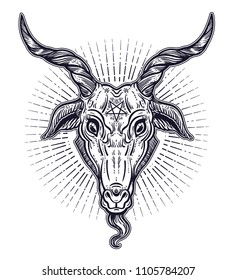 Pentagram in the head of demon Baphomet. Satanic goat head. Binary satanic symbol. Vector illustration isolated. Tattoo design, retro, music, summer, print symbol for biker black metal themes.