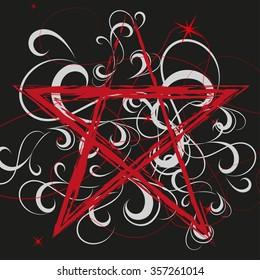 Pentagram red on black Background Vector