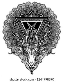 Pentagram sign head of demon Baphomet. Satanic goat head. Binary satanic symbol. Vector illustration isolated. Tattoo design, retro, music, summer, print symbol for biker black metal themes.