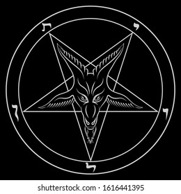 The pentagram, the sign of Lucifer. The head of a horned Goat in a pentagram. Sigil of Baphomet, isolated on black, vector illustration