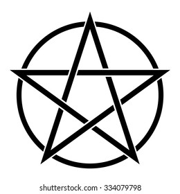 Pentagram symbol in circle . Vector illustration