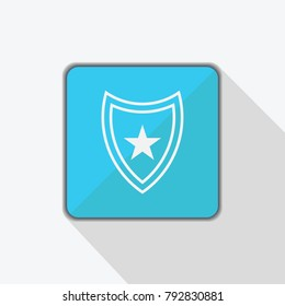 Pentagram vector icon isolated on blue background. Pentagram icon on shield. Stock vector illustration