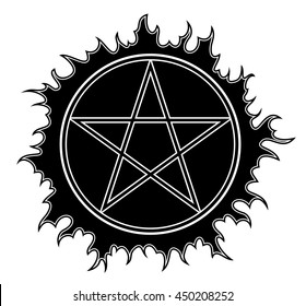 Pentagram vector icon. Star symbol. Isolated vector Illustration black on white background.