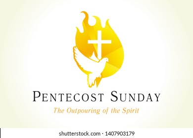 Pentecost sunday banner with dove & cross in flame. Invitation the christian service of pentecost with Holy Spirit and text. Vector illustration