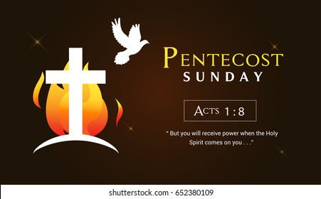 Pentecost Sunday Banner Vector illustration, Cross with fire and Pentecost holy spirit.