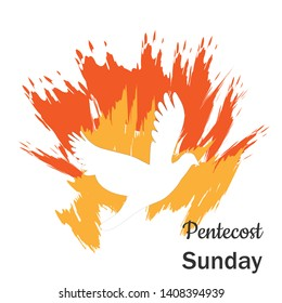 Pentecost Sunday poster design for print or use as card, flyer or T shirt
