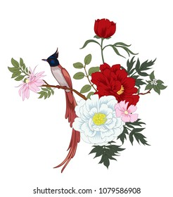 Peonies and bird.Floral composition in chinese style