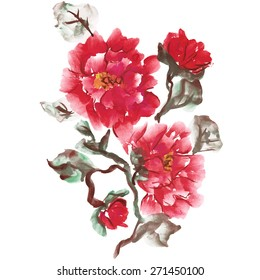 Peonies, painted in gouache. Stylized Chinese painting. Vector illustration