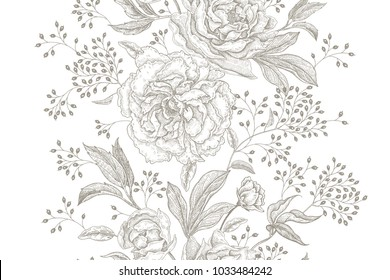 Peonies and roses. Floral vintage seamless pattern. Black flowers, leaves, branches and berries on white background. Oriental style. Vector illustration art. For design textiles, paper, wallpaper.