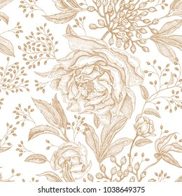 Peonies and roses. Floral vintage seamless pattern. Gold flowers, leaves, branches and berries on white background. Oriental style. Vector illustration art. For design textiles, paper, wallpaper.