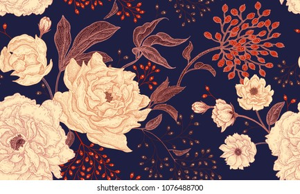 Peonies and roses. Floral vintage seamless pattern. Gold and white flowers, leaves, branches and red berries on navy blue background. Oriental style. Vector illustration art for textiles, paper design