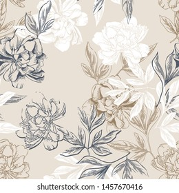 Peonies Seamless Pattern. Hand Drawn Background. Vector Illustration.