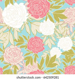 Peonies seamless pattern. Peony background. Vector illustration. Surface pattern design. All over printing.