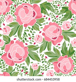 Peonies seamless pattern. Peony chinoiserie background. Vector illustration. Surface pattern design. All over printing.