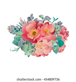 peonies and succulents hand draw vector bouquet
