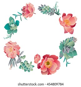 peonies and succulents hand draw vector wreath