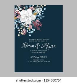 Peony anemone wedding invitation