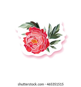 Peony background. Peony fashion pin badge, brooch, sticker, patch. Peony background. Beautiful design element for your festive design. Vector illustration.