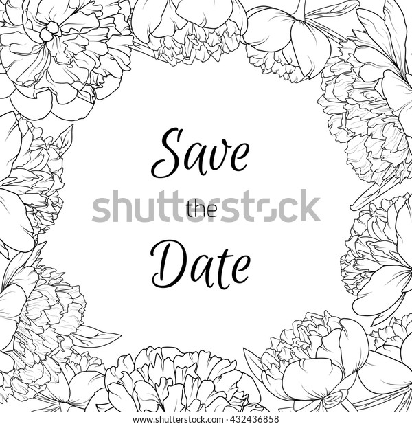 Peony Blossom Flowers Border Design Frame Stock Vector Royalty Free 432436858