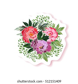 Peony bouquet background. Peony fashion pin badge, brooch, sticker, patch.  Beautiful decorative element for your festive design. Vector illustration.