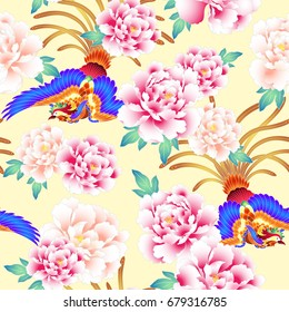 peony and Chinese phoenix pattern