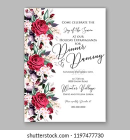 Peony Christmas Party Invitation vector template greenery marsala burgundy dark red Floral background for wedding invitation, bridal shower, baby shower