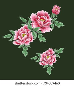 Peony flower of Japanese style. Patches for embroidery or textile print on green background. Vector illustration.