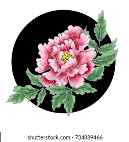 Peony flower of Japanese style. Patches for embroidery or textile print.