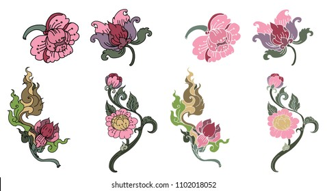 Peony flower Line Thai style.Thai flower vector.Outline and coloring book beautiful Line art Hibiscus mutabili flower.