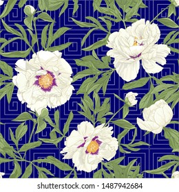 Peony flower. Seamless pattern, background. Colored vector illustration. In botanical style on space blue background with Imitation of traditional Japanese embroidery Sashiko.