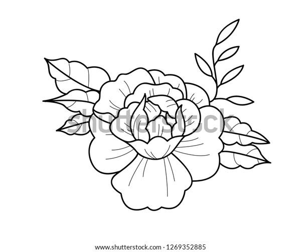 Peony Flower Tattoo Design Stock Vector Royalty Free 1269352885