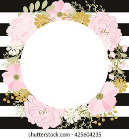 Peony flower wedding invitation / Flower wedding frame
