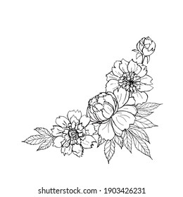 Peony flowers bouquet frame template. Corner frame vector illustration black and white sketch for decor postcards, coloring pages.