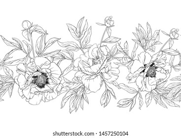 Peony flowers. Seamless pattern, background. Outline hand drawing vector illustration. In botanical style Isolated on white background.