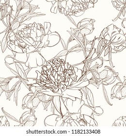 Peony flowers seamless pattern texture. Brown sepia outline on beige background. Blooming spring summer line flowers. Vector design illustration for fashion, decoration, fabric, textile.