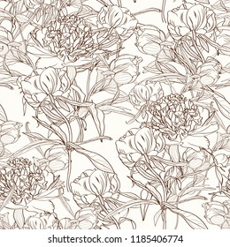 Peony flowers seamless pattern texture. Brown sepia outline on beige background. Blooming spring summer line flowers illustration. Vector design illustration for fashion, decoration, fabric, textile.